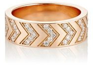 Ambre Victoria Pave White Diamond Chevron Engraved Ring Colorless