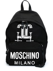 Moschino Interlocking C Clamp Backpack Black