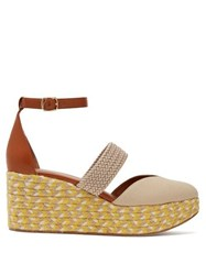 Malone Souliers Sasha Canvas Espadrille Wedges Beige Multi