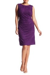 London Times Pleated Faux Suede Sheath Dress Plus Size Purple