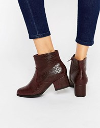 London Rebel Croc Print Mid Heeled Ankle Boots Burgundy Croc Pu Red