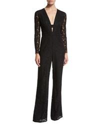 Diane Von Furstenberg Kyara Long Sleeve Lace Jumpsuit Black