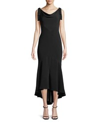 Carmen Marc Valvo Tie Shoulder High Low Midi Dress Black
