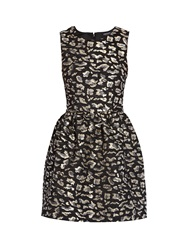 Morgan Skater Dress With All Over Patterning Black
