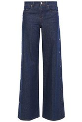 Red Valentino Redvalentino Woman Snap Detailed Mid Rise Wide Leg Jeans Mid Denim