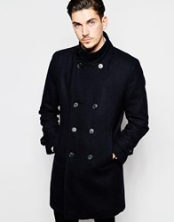 Rhino Funnel Neck Wool Rich Overcoat Navy