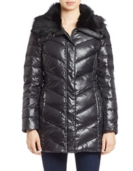 Bagatelle Sheep Fur Trimmed Quilted Coat Black