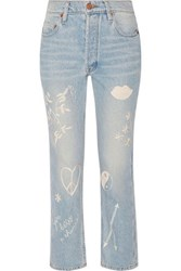 Bliss And Mischief Study Hall Embroidered High Rise Straight Leg Jeans Mid Denim