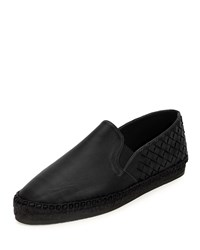 Bottega Veneta Intrecciato Woven Leather Espadrille Black Nero Nero