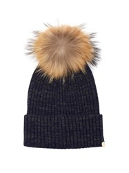 Yves Salomon Cashmere And Wool Blend Beanie Hat Navy