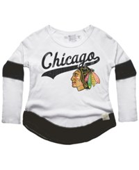 Retro Brand Women's Chicago Blackhawks Faceoff Thermal Long Sleeve T Shirt White