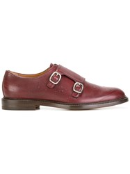 Gucci Bee Brogue Monk Shoes Red