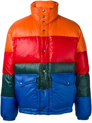 Diesel Colour Block Padded Jacket Yellow Orange
