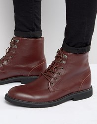 Bellfield Sigmar Leather Laceup Boots Red