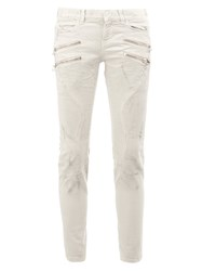 Faith Connexion Zipped Pocket Biker Jeans White