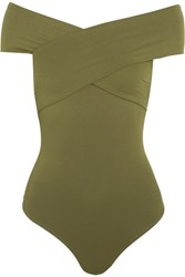 Alix Wooster Off The Shoulder Stretch Jersey Bodysuit Army Green