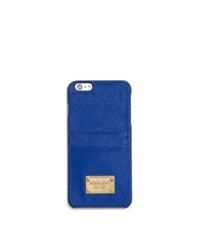 Michael Kors Saffiano Leather Pocket Case For Iphone 6 Plus Electric Blue