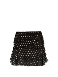 Saint Laurent Polka Dot Print Ruffled Silk Mini Skirt Black White