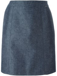 Chanel Vintage Classic Straight Skirt Blue