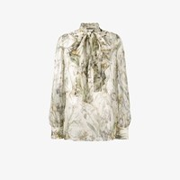 Alexander Mcqueen Floral Print Pussy Bow Blouse