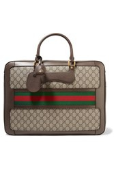 Gucci Echo Small Leather Trimmed Coated Canvas Suitcase Brown