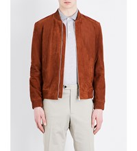 Gieves And Hawkes Suede Bomber Jacket Brown