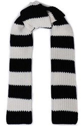 Red Valentino Striped Wool And Cashmere Blend Knit Scarf Black