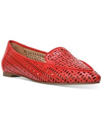 Franco Sarto Soho Perforated Pointed Toe Flats Women's Shoes Red