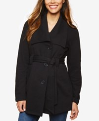 Motherhood Maternity French Terry Belted Coat Black