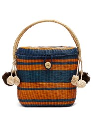 Sophie Anderson Cinto Striped Wicker Basket Bag Navy Stripe
