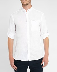 Celio Club White Linen High Collar Shirt