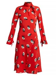 Etro Modlin Floral Print Silk Crepe Dress Red Print