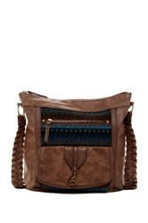 T Shirt And Jeans Braided Handle Crossbody Brown