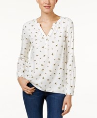 G.H. Bass And Co. Bee Print Blouse Ivory Multi