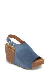 Bos. And Co. Sheila Platform Wedge Sandal Blue Leather