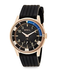 Breil Milano Rose Goldtone Stainless Steel And Grooved Silicone Watch Black Rose Gold