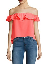Amanda Uprichard Solid Off The Shoulder Cropped Top Neon Pink