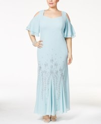 R And M Richards Plus Size Embellished Off The Shoulder Gown Slate