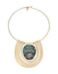 Robert Lee Morris Midnight Hour Abalone Statement Round Wire Necklace Stone
