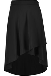 Agnona Tulip Layered Asymmetric Silk Crepe Skirt Black