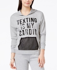 Material Girl Juniors' Texting Mesh Pocket Graphic Pullover Hoodie Only At Macy's Heather Platinum
