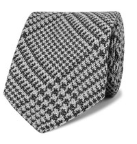 Tom Ford 8.5Cm Prince Of Wales Checked Wool And Silk Blend Tie Gray