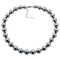 Finesse Faux Pearl Necklace Grey