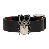 Alexander Mcqueen Black Leather Beetle Bracelet