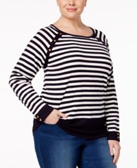 Karen Scott Plus Size Striped Sweater Only At Macy's Navy Combo