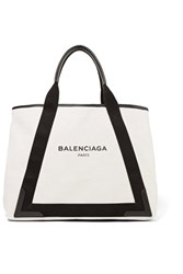 Balenciaga Navy Cabas Medium Leather Trimmed Canvas Tote Beige