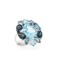 Vianna B.R.A.S.I.L Blue Topaz And Diamond Cocktail Ring Size 6.5