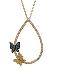 Lord And Taylor Multi Color Diamond And 14K Yellow Gold Butterfly Pendant Necklace