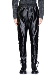 Faith Connexion Lace Up Side Faux Leather Pants Black