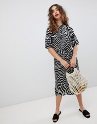 Mango Zebra Print Midi Dress Zebra Print Multi
